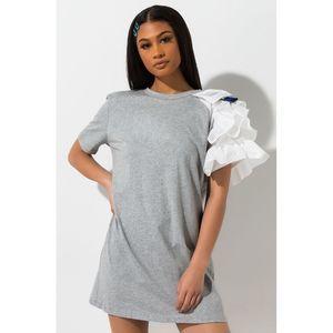 Akira Gray Cotton Ruffle Sleeve T-Shirt Dress Med